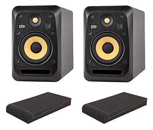'KRK V6Serie 4ISO Stand Set (Monitor de estudio activo par con 1x 6,5bafle de kevlar, 49preajustes EQ & 155W de potencia de Juego con 1par de espuma absorber placas con aislante cuña) Negro
