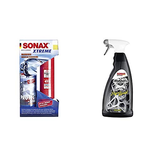 SONAX XTREME Protect+Shine Hybrid NPT (210 ml) wachsfreie Hochglanz-Versiegelung + FelgenBeast (1 l) entfernt selbst biestige Verschmutzungen