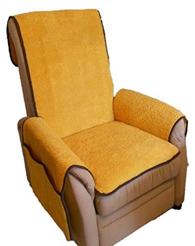 Holzdrehteile Sesselschoner Sesselauflage Sesselbezug Schoner Überwurf Auflage Schurwolloptik Honey