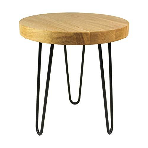 heimzeit Tavolo Quadrato in Legno massello di Quercia di Alta qualità [Spess: 4 cm, 40 x 40 cm] - Tavolino da caffè in Legno in Elegante Stile Industriale - Gambe a forcina [Colore: Nero - 41 cm]