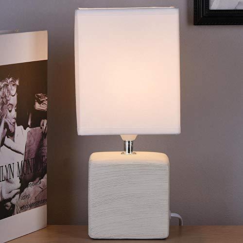 BAKAJI mesa con base en forma de cubo de cerámica, pantalla de tela, lámpara para mesita de noche, dormitorio, luz E14, máx. 40 W, diseño moderno, Color blanco