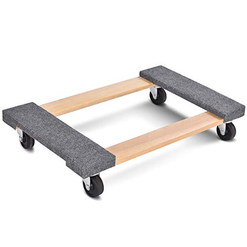 """Goplus Moving Dolly Heavy Duty Wood Furniture Dllies Movers Carrier (30""""x18"""" with Carpet End)"""