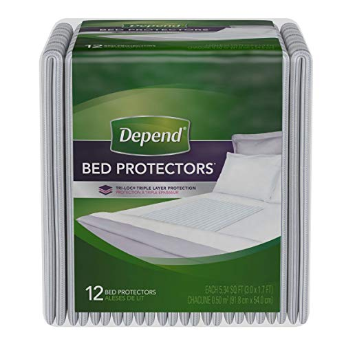 Depend Incontinence Bed Protectors, Disposable Underpad, Overnight Absorbency, 12 Count (Pack of 3)