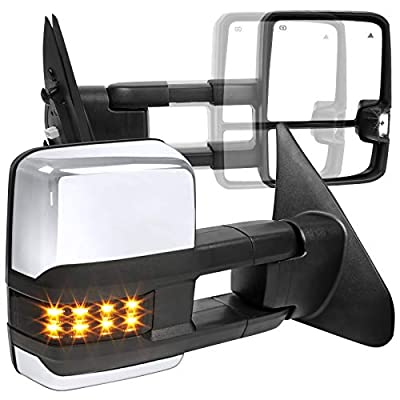 For Toyota Tundra Heated+Power Extend Chrome ABS Towing Mirrors+Smoke LED Signal