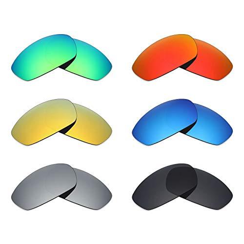 Mryok 6 Paar Gepolariseerde Vervangende Lenzen voor Oakley Blender Zonneglas - Stealth Zwart/Vuur Rood/IJsblauw/Zilver Titanium/Emerald Green/24K Goud