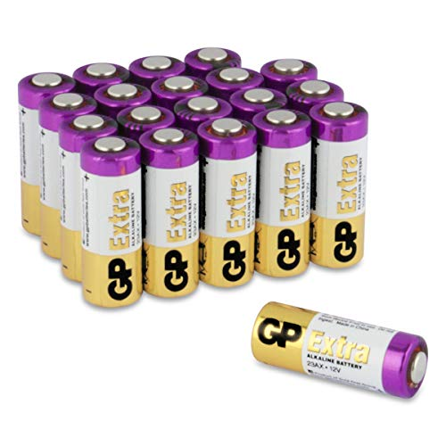 GP Extra Batterien 23A 12V Alkaline (A23, 23AE, MN21, V23GA) 20 Stück High-Voltage Batterien 12 Volt