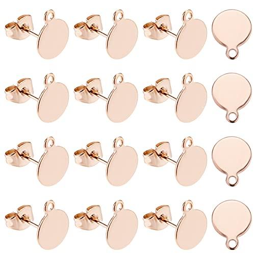 PandaHall 20 pendientes de acero inoxidable chapado al vacío, pendientes en blanco, pendientes con parte trasera para hacer joyas de pendientes, oro rosa