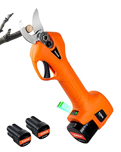 Kebtek Pruning Shears Battery Powered, Electric Secateurs 16.8V Electric Pruning Shears Electric Branch Scissors Cordless with Brushless Motor 2 Pack Rechargeable 2Ah Lithium, 25mm