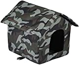 Detachable Cat Dog House Pet House Soft Cat Bed Foldable Warm Cat Dog Shelter (Camouflage Green, Small)
