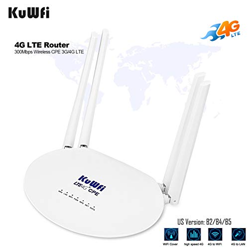 KuWFi 4G LTE SIM Router Wireless WiFi Internet 300Mbps Unlocked with 4pcs Non-Detachable Antennas Mobile WiFi Hotspot for B2/B4/B5/B12/B17[Not for Verizon]