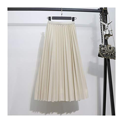 Otoño Mujer Falda Verano Luz Classic Una Falda De Palabra Falda De Color Sólido Delgada De Cintura Alta Cintura Retra Delgado Plateado Falda De Longitud Medio (Color : Beige, Talla : One Size)