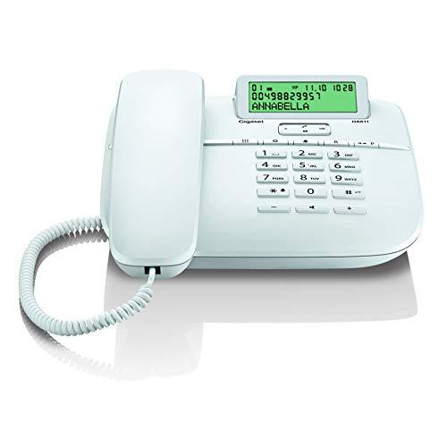 Gigaset DA611 Komfort-Handy - klassisches Schnurtelefon mit Anrufanzeige, Direktruf & Freisprechfunktion - hörgerätekompatibel, weiß