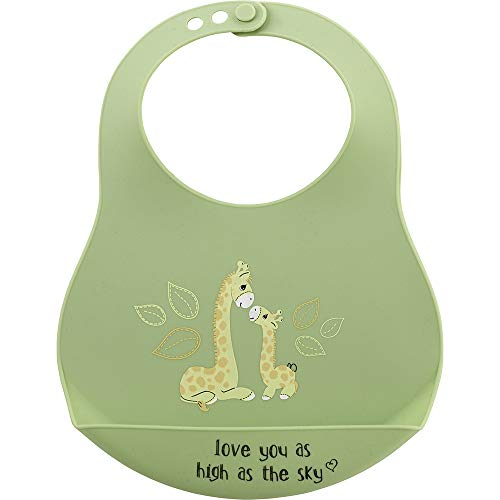 Precious Moments 201445 Love You As High As The Sky Silicone Bib Baby Mealtime, One Size, Multicolored