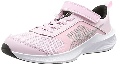 Nike Downshifter 11 PSV, Scarpe da Ginnastica Unisex-Bambini, Pink Foam/Mtlc Silver-Black-White, 32 EU