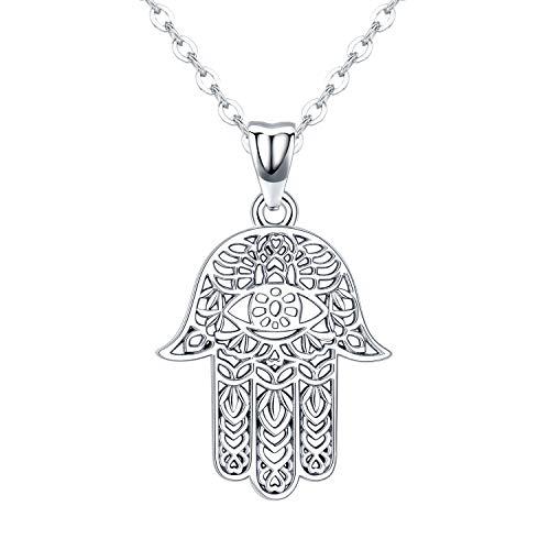 Hamsa Hand Halskette, 925 Sterling Silber Anhänger Schmuck für Frauen Männer, Sacred Vintage Hand von Fatima Evil Eye Anhänger mit Schmuck Geschenk Frauen Symbolik Freundschaft Lotus Charm