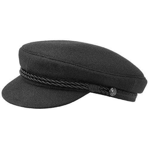HAMMABURG Elbsegler Mütze Schwarz für Herren - traditionelle Kapitänsmütze mit Innenfutter - Matrosenmütze aus Tuch - Größe 57 cm - Schirmmütze mit Kordel, kurzem Visor und silbernen Knöpfen