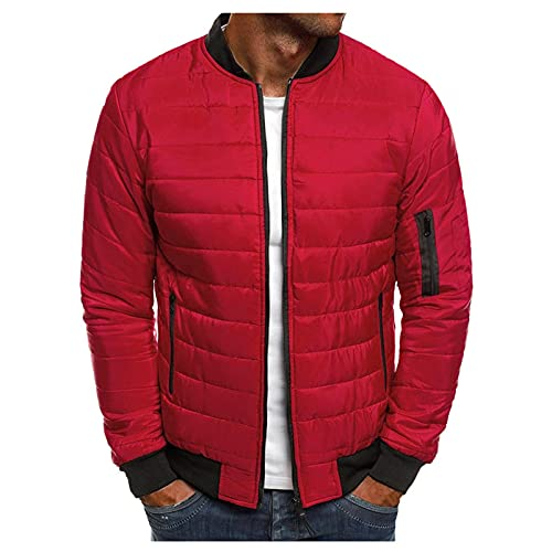 BIKETAFUWY Veste matelassée pour homme - Couleur unie - Doudoune avec capuche - Veste demi-saison - Veste de sport - Veste de loisirs - Mélange de matériaux - Capuche zippée - Style urbain., rouge, XL