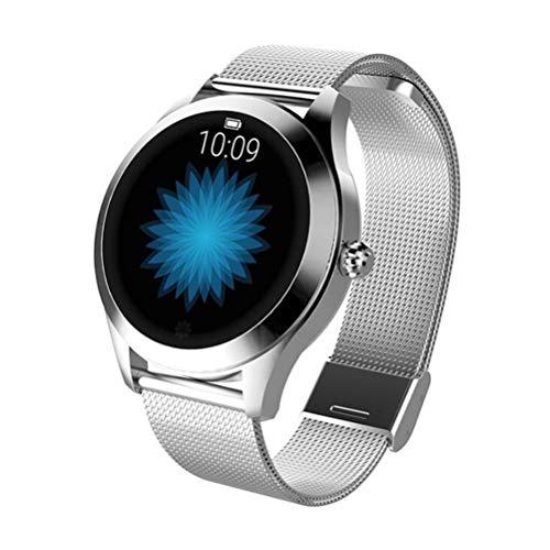 RongWang Reloj Inteligente a Prueba de Agua para Mujer, Pulsera Encantadora, Reloj Inteligente con frecuencia cardíaca para Dormir para iOS, Android (Color : Silver)