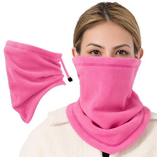 JOEYOUNG Drawstring Neck Warmer Adjustable Fleece Neck Gaiter Ski Tube Scarf for Men Women Kid Cold Winter Thermal Face Mask Shield for Running Skiing Cycling Snowboarding