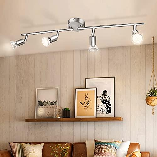 Luminaire Plafonnier 4 Spots LED Orientables, Wowatt 6W Spot de Plafonnier 600Lm GU10 Applique Lampe 2800K Blanc Chaud pour Salon Cuisine Chambre Salle a Manger en Nickel Mat
