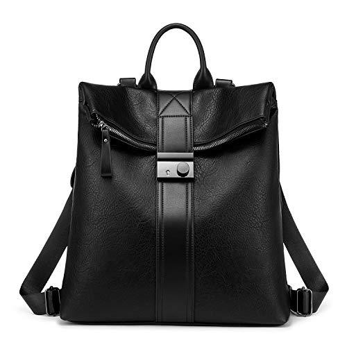 Realer Rucksack Damen Schwarz, Elegant 2 in 1 Rucksacktasche Groß PU Leder, Diebstahlsicher Wasserdichte Handtasche als Rucksack Vintage Backpack für Frauen Mädchen