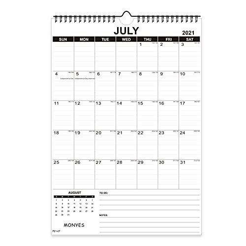 Monyes 2021 - 2023 Wall Calendar, 17' x 12' Academic Desk Calendar, 2 Year Wirebound Calendar
