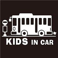 imoninn KIDS in car ステッカー 【シンプル版】 No.61 バス (白色)