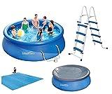 VDP Summer Waves Fast Set Quick Up Pool 366x91cm Swimming Pool Familien Schwimmbad mit Filterpumpe + Leiter + Abdeckplane + Bodenplane