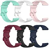 TenCloud 6-Pack Bands Compatible with Umidigi Uwatch2S, 22mm Wrist Strap Quick Release Waterproof Soft Silicone Band for Uwatch2S Smartwatch (Multi-ColoredB)