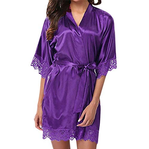Damen Klassische Nachthemd Juliyues Damen Morgenmantel Kimono Kurz Bademantel V Ausschnitt Damen Satin Nachtkleid Nachtwäsche Sleepwear mit Spitzen Pajamas Sleepwear Frauen Spitze Negligee