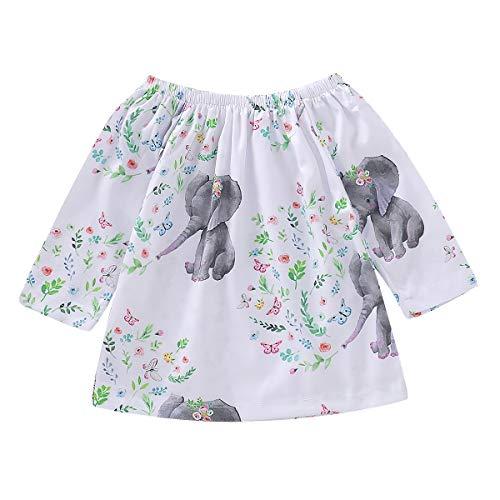 HaiQianXin Vestido Estampado Elefante de Dibujos Animados para bebés niñas Vestido de...