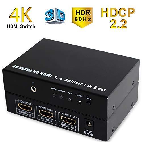 Conmutador HDMI 4k HDMI Switch 3 en 1 salida 4K @ 60Hz HDMI Splitter 3 puertos Ultra HD 2160P Soporta HDR HDCP 2.2 HDMI distribuidor con mando a distancia IR HDMI Switcher para PC DVD Xbox PS3/4 HDTV
