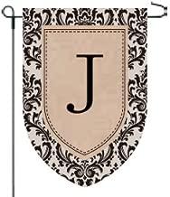 Home Garden Flags Monogram - Damask Burlap - 12.5 x 18 (J)