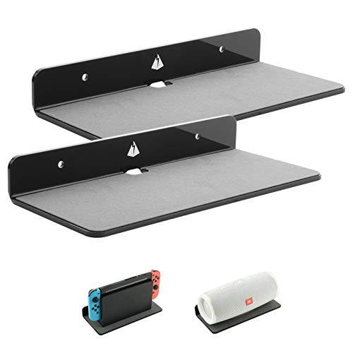 Wall Shelves Speaker Shelf-2 Pack, TXEsign 9 Inch Small Wall Shelf Speaker Mount for Bluetooth Speaker, Webcam, Mesh Router, Clock, Cell Phones, Toy Display Shelf Acrylic Speaker Stand (Black, Large)