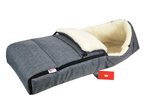 BABYLUX Fußsack LAMMWOLLE Winterfußsack Kinderwagen- Babyschale- Fußsack (55. LEIN Grau)