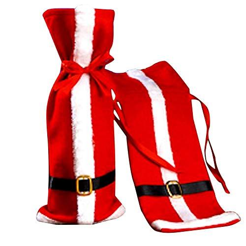 Goodtimera - Funda para botella de vino, forro polar, para Navidad, mesa, cena, decoración para Navidad, chaqueta de punto para fiestas