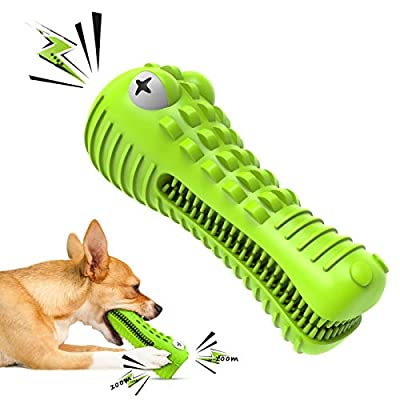 Cutiful Dog Toys Dog Chew Squeaky Toothbrush Toy Indestructible Durable for Aggressive Chewers Large Medium Breed13-36 KG Dogs(M, Grass Green)