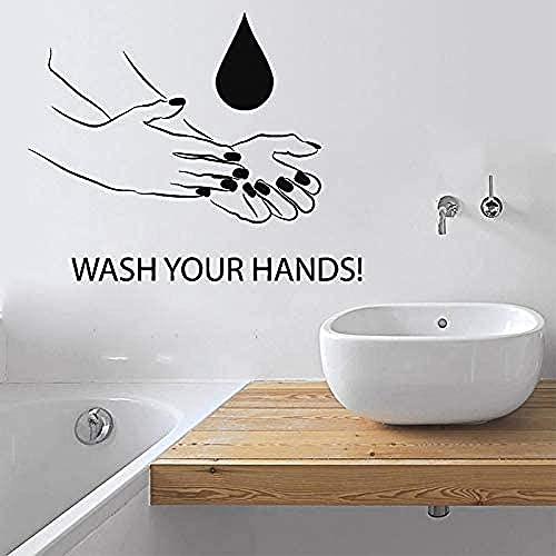 Pegatina de pared,calcomanías de la regla de higiene del baño citan lavado a mano vinilo decor decoración de pared decoración de la pared 44x53cm