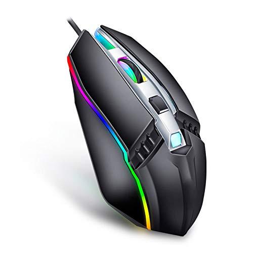 Powstro M5 RGB Gaming Esports Ratón Ratón con cable luminoso para ordenador,...