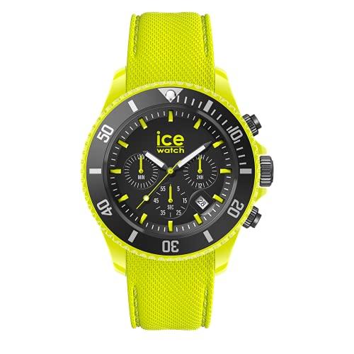 Ice-Watch Ice Chrono Neon Yellow, Reloj Amarillo para Hombre con Correa de Silicona, Cronógrafo, 019838, Large