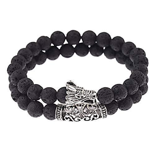 SLGOZL Naturstein Perlen Herren Drachen Armband Set Lava Stein Perlen Armbänder Für Frauen, schwarz Lava Set