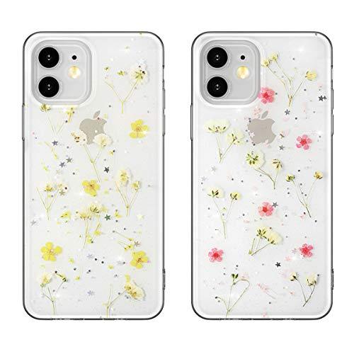 EYZUTAK 2 Pack getrocknete Blumen Hülle für iPhone 12 iPhone 12 Pro(6.1 Zoll), weiche schlanke TPU klar funkeln Sterne Glitzer Silikon Gel stoßfeste Blume Schutztasche - Rosa und Gelb