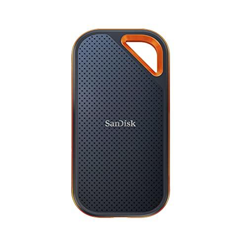 SanDisk Extreme PRO NVMe SSD 2 TB (tragbare NVMe SSD, USB-C, bis zu 2.000MB/s, robust und wasserbeständig, Karabinerhaken)