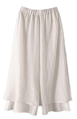 Mordenmiss Women's Wide Leg Pants Cotton Two-Layer Ankle Capris Trousers (XXL, White)