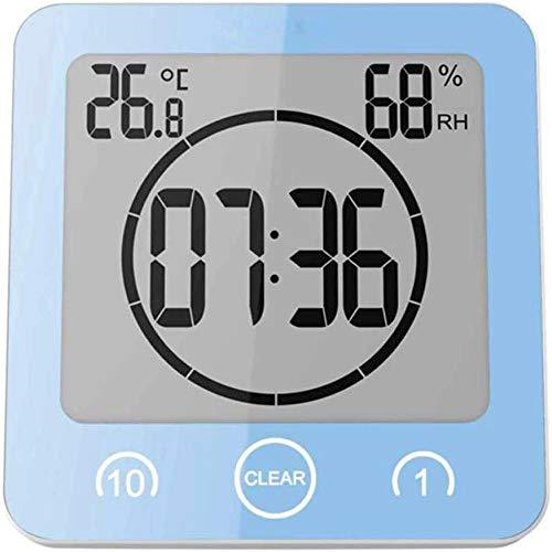 PrideSong Reloj despertador digital con pantalla grande LED, indicador de temperatura, reloj de baño, impermeable, cuenta atrás y temporizador azul