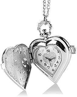 ネックレスチェーン付きの女性のロマンチックなクォーツ時計のためのハート型の懐中時計クリスマスギフトP72