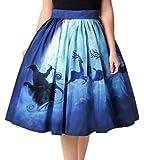 Ocean Plus Mujer Retro Falda Plisada A Line Cintura Alta Casual Mini Falda Skater Longitud de la Rodilla Puntos Falda de Columpio (S (Cintura: 66-86cm), Trineo de Renos Azul)