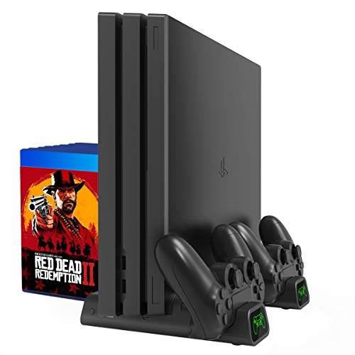 PS4 縦置きスタンド コントローラ充電スタンド2台付き 高性能PS4冷却ファン PS4/PS4 Pro/Slim/スリム 高互換性 収納 多機能PS4冷却スタンド&急速充電器 1年保証付き