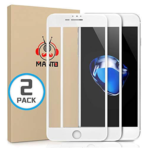 MANTO Screen Protector for iPhone 8 Plus 7 Plus 6S Plus 6 Plus 5.5-Inch Full Coverage Tempered Glass Film Edge to Edge Protection 2-Pack, White