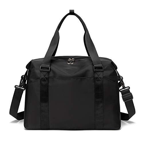 FEDUAN original hochwertige Sporttasche Reisetasche mit Nassfach Kliniktasche Shopping-Bag Weekender Handgepäck faltbar wasserfest Handtasche Freizeit-Tasche Damen Einkaufen schwarz dunkel
